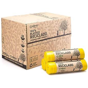 RELEVO 100% Reciclado Bolsas de Basura, Extra Resistentes 30 ...