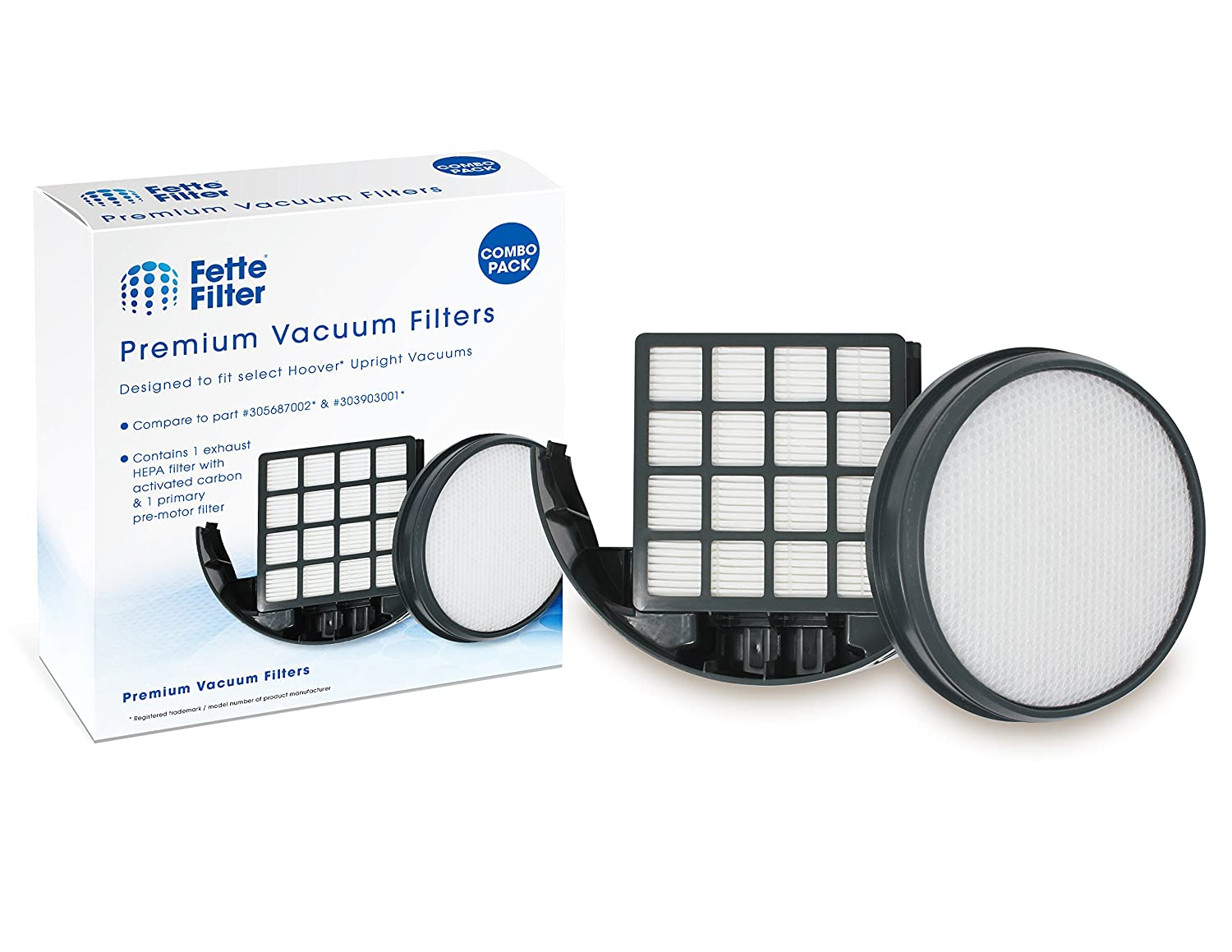 Fette Filter - Upright Vacuum Filter Kit Compatible with Hoover WindTunnel 3 Pro Pet. Compare to Part # 303903001 & 305687002. Combo Pack 81ZduSDR5GL