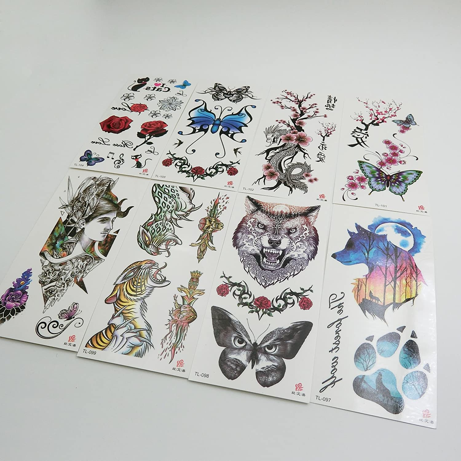 87c14d781 Amazon.com : Oottati 8 Sheets Temporary Tattoo 3D Stickers Hand Ankle Wolf  Footprint Butterfly Tiger Rose : Beauty