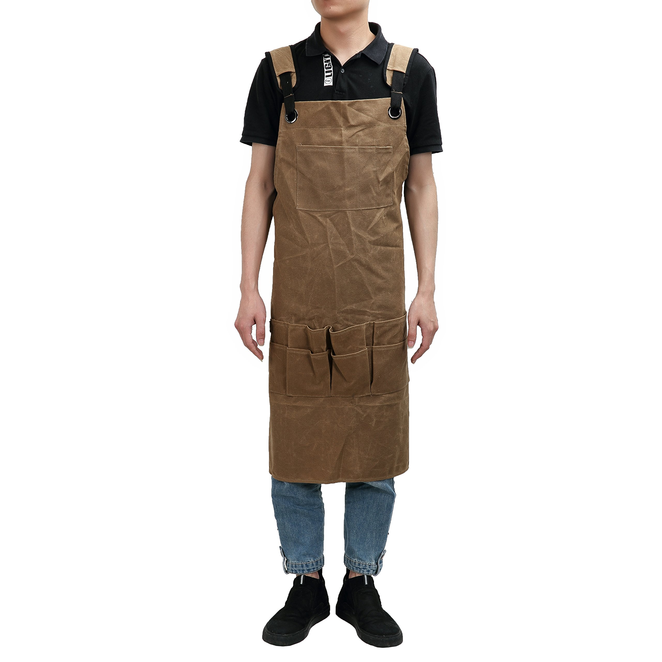 QEES Waterproof Garden Tool Apron Heavy Duty Waxed Canvas Workman Apron with Large Multi Tool Pockets and Adjustable Belt for Engineers Carpenter Handymen Fit Kitchen, Garden, Pottery, Craft Workshop,