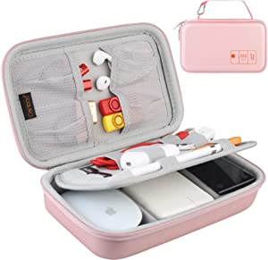 Canboc EVA Hard Case for MacBook Air Pro Power Adapter, iPhone 12/12 Pro MagSafe Charger, Magic Mouse, Apple Pencil, USB C Hub, SD Card, USB Cable, Electronics Travel Tech Organizer Pouch, Rose Gold