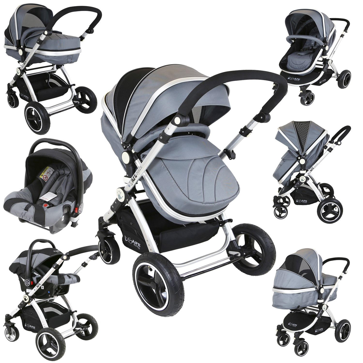 i-Safe System - Grey Trio Travel System Pram & Luxury Stroller 3 in 1