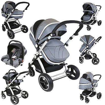 Cochecito de lujo gris 3 en 1 i-Safe System con silla para el coche ...