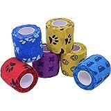 TY PET ペットフレックス ペットパック クイックテープ 多機能 粘着包帯 不織布 自着性伸縮包帯 猫犬動物用,5CM*450CM (6巻入り)