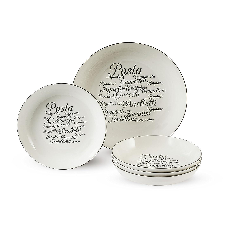Amazon.com | Trattoria Pasta Plates Set, White: Accent Plates