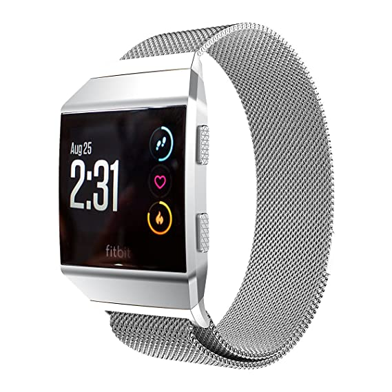 ANCOOL Fitbit Ionic Milanese Bands Magnetic Closure Stainless Steel Replacement Bracelet Milanese Loop for Fitbit Ionic - Small Silver