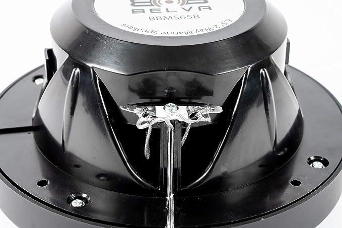 "Belva BBMS65B 6.5"" 2 Way 400W Black Marine Coaxial Speakers Boat ATV Motorcycle"