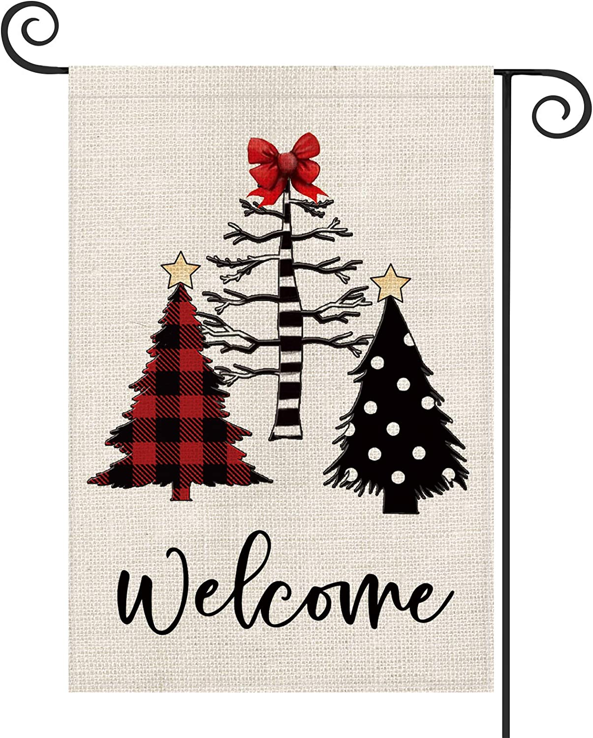 AVOIN Welcome Buffalo Check Plaid Polka Dot Christmas Tree Garden Flag Vertical Double Sized, Winter Holiday Bow Star Yard Outdoor Decoration 12.5 x 18 Inch