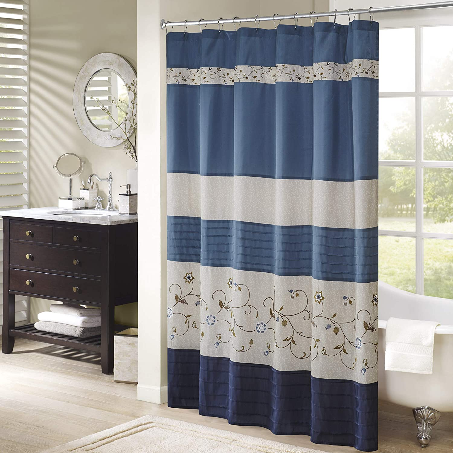 Madison Park Serene Flora Fabric Shower Curtain, mbroidered Transitional Shower Curtains for Bathroom, 72 X 72, Red E&E Co. Ltd DBA JLA Home MP70-644