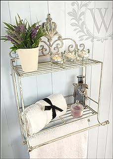 porta asciugamani shabby chic bagno asciugamano barra ... - Porta Asciugamani Da Bagno In Ferro Battuto