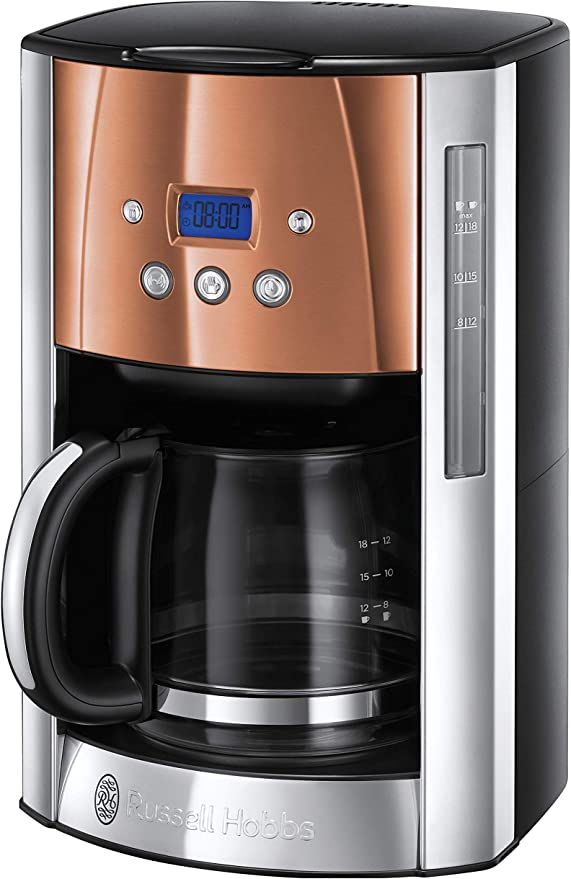 Russell Hobbs Luna Filter Coffee Maker 18 Litre Programmable Coffee Machine With Timer And Auto Keep Warm Copper 24320