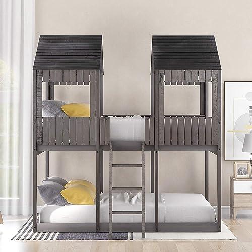 Full Over Full Wood Bunk Bed