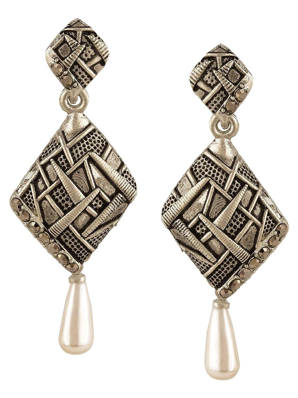 Efulgenz Boho Vintage Antique Ethnic Gypsy Tribal Indian Oxidized Silver Dangle Pearl Drop Earrings Jewelry