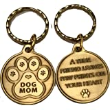 Dog Mom - A True Friend Leaves Paw Prints On Your Heart Keychain Paw Print Bronze