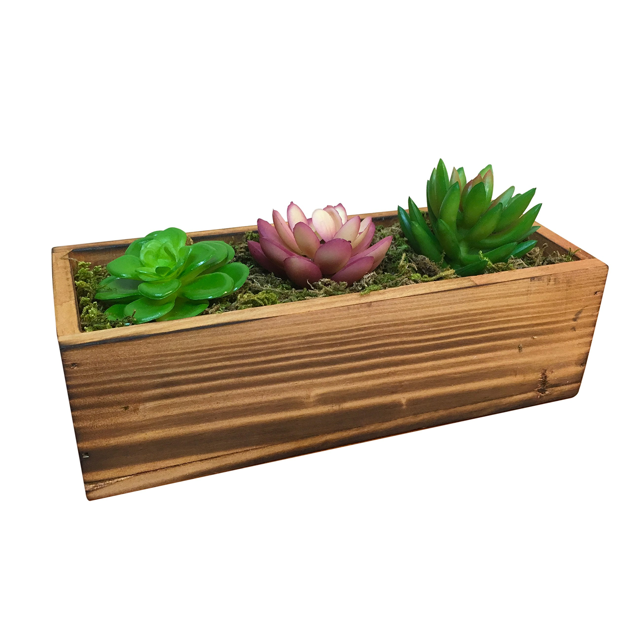Country Rustic Wood Planter w/ 3 Faux Succulent Plants & Moss / Decorative Windowsill Plant Container Box