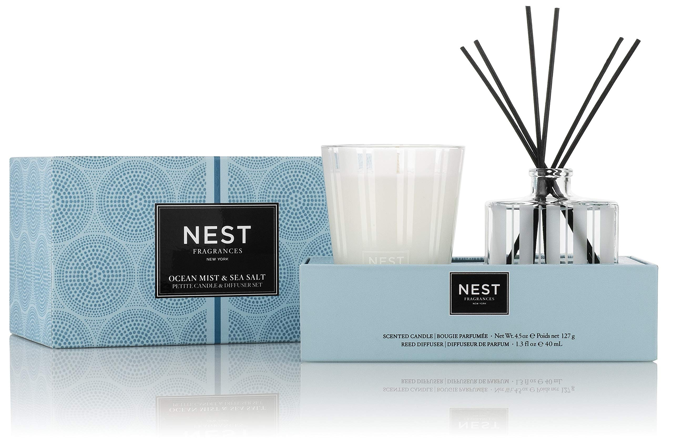 NEST Fragrances Ocean Mist & Sea Salt Petite Candle & Reed Diffuser Set by NEST Fragrances