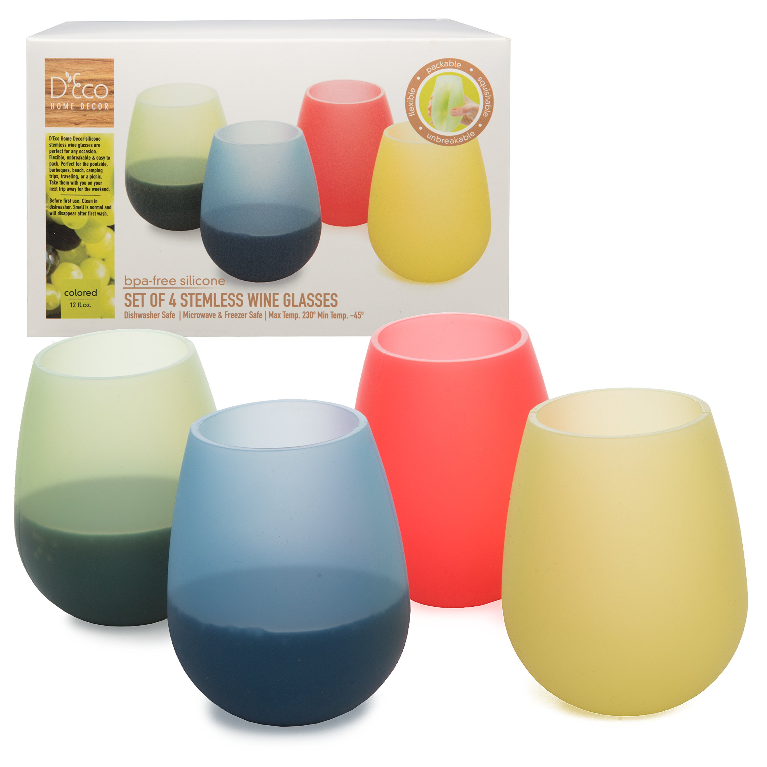 Unbreakable Silicone Wine Stemless Glasses- Set of 4 Colored- 12 oz - Food Grade, BPA Free - Flexible Like Rubber
