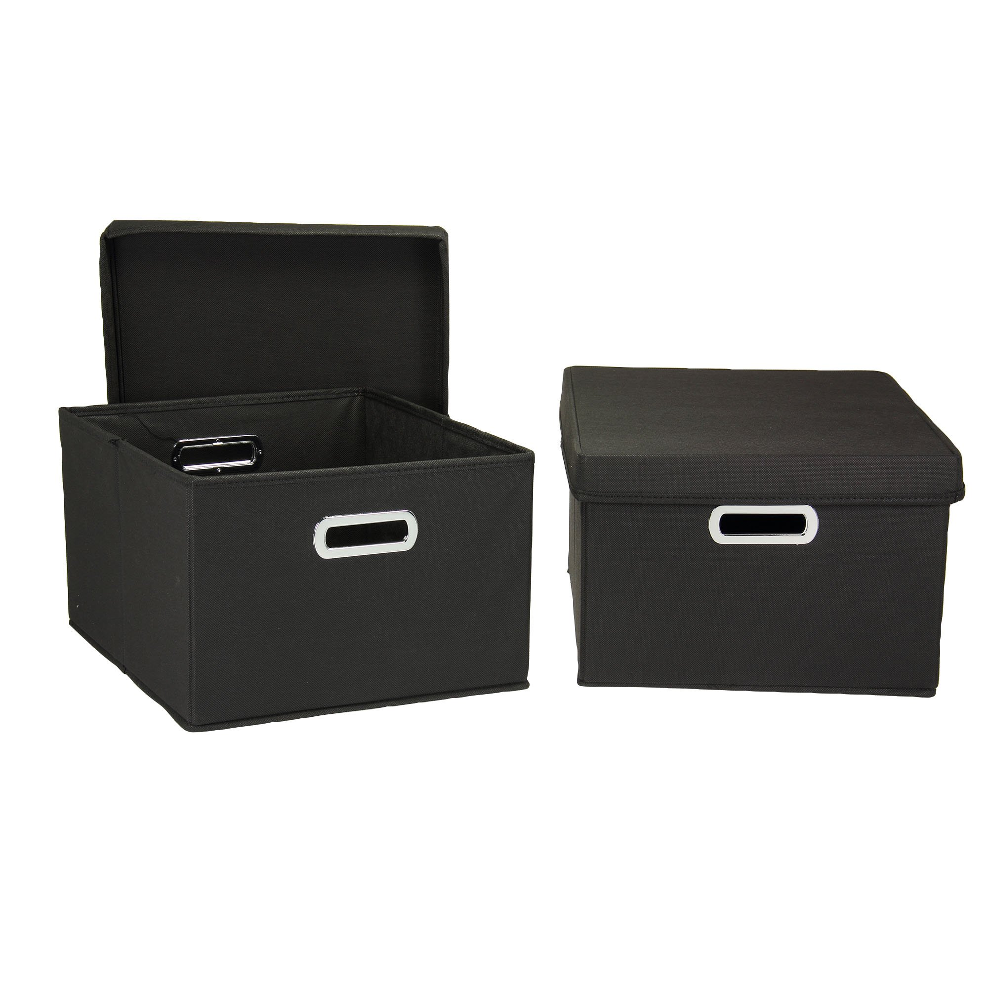 Household Essentials Fabric Storage Boxes with Lids and Handles by Household Essentials