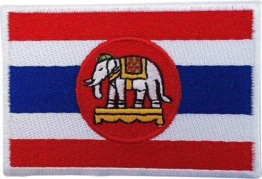 Bandera de Tailandia parche hierro Sew en bordado insignia Tailandia Elefante blanco de la Royal Navy: Amazon.es: Hogar