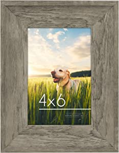 Americanflat 4x6 Rustic Picture Frame in Driftwood Grey with Polished Glass - Horizontal and Vertical Formats for Wall and Tabletop