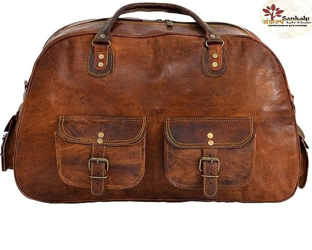 acheter en ligne 71950 b3a44 Sankalp Leather sac de voyage vintage, sac de sport, sac d'excursion,  NOUVEAU, 100% cuir pur avec livraison gratuite, NOUVEL AN 2019 Sale- 2  JOURS ...
