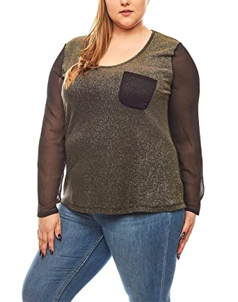 38679181322b RICK CARDONA Metallic-Look Langarm Shirt Blusen-Shirt Große Größen Schwarz,  Größenauswahl