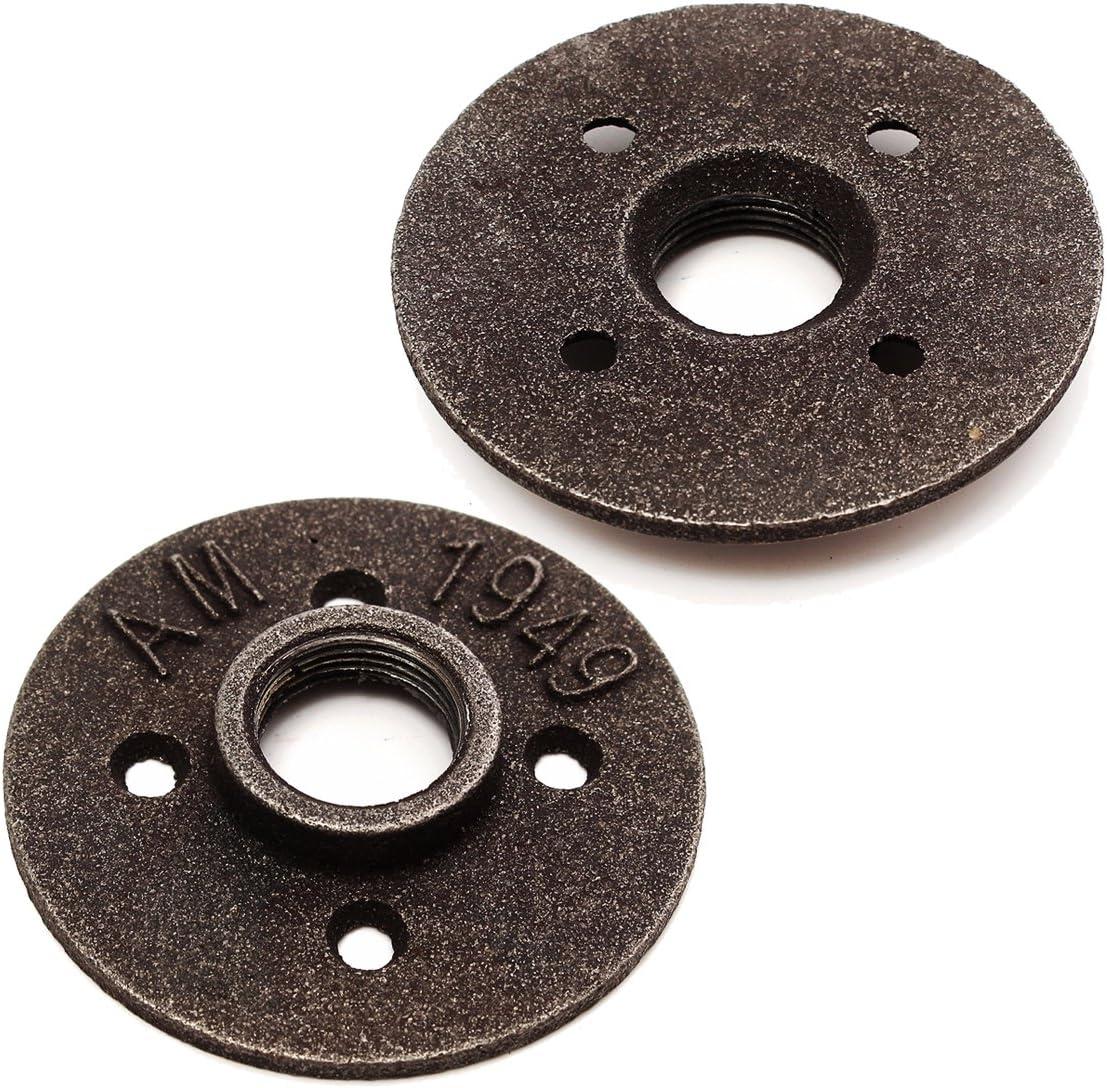 ILS – 2 piezas 3/4 pulgadas negro empalme brida para suelo de hierro maleable NPT asiento antiguo con brida de pared