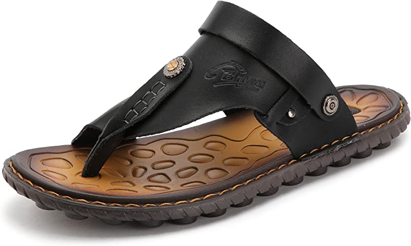 Mens Strapped Sandals Faux Leather Slip On Water Shoes Closed Toe Slides Summer