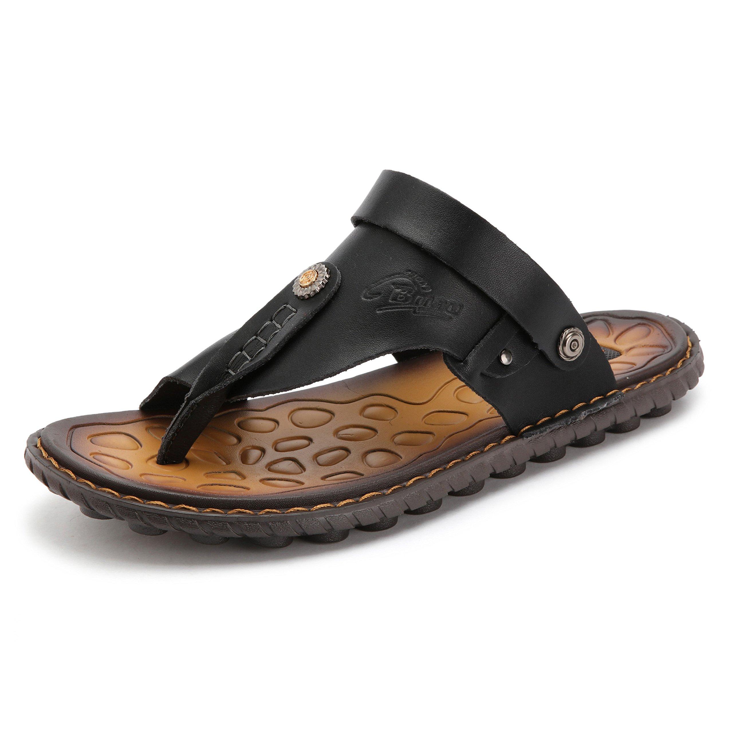 OHCHSH Sandals for Mens Leather Slippers Boy Slip On Sandles Flip Flops Thong US Size 9