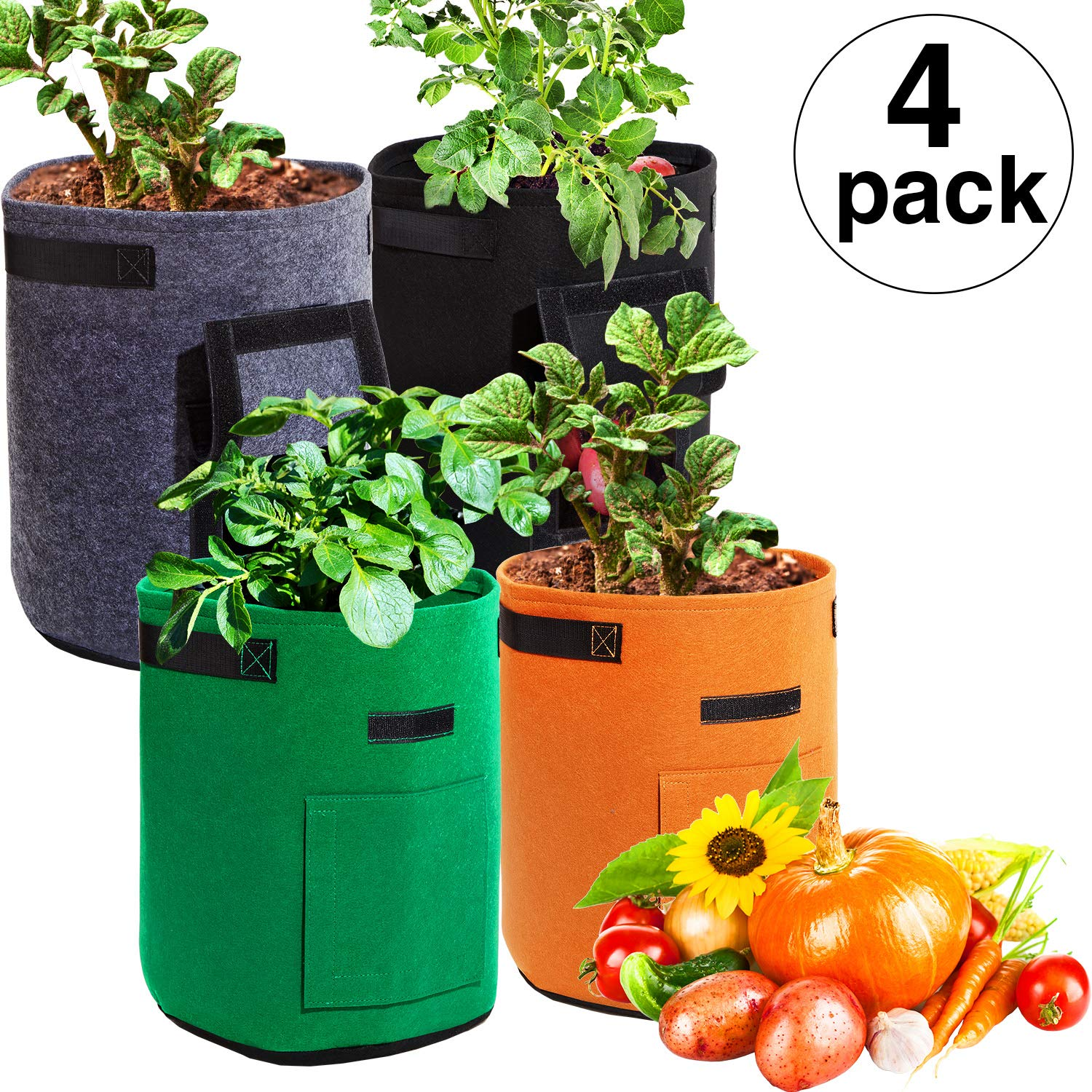 Maitys 4 Pieces Potato Grow Bags, 7 Gallon Garden Vegetables Planter Bags with Flap and Handles Non-Woven Grow Bags for Potato Onion Carrot Tomato Gray, Brown, Green, Black