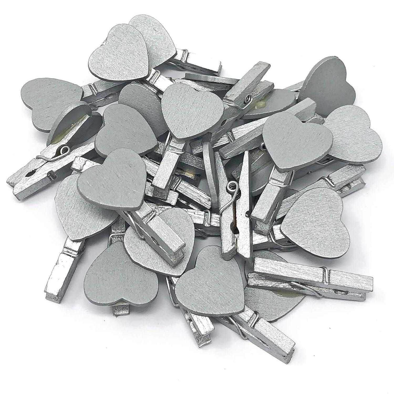 silber 30/mm Silber Mini-W/äscheklammern mit passenden 18/mm Silber Herzen Craft f/ür Shabby Chic Hochzeit 30 mm holz