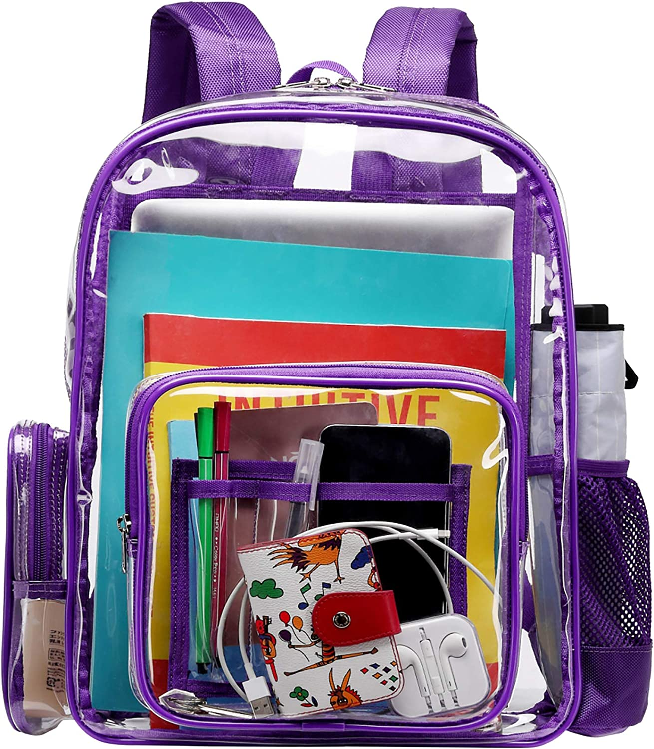 Heavy Duty Clear Backpack, Packism Large Clear Backpack with Laptop Compartment Waterproof Transparent Backpack with Reinforced Straps Clear Plastic Backpack for School, Work, Security, Purple