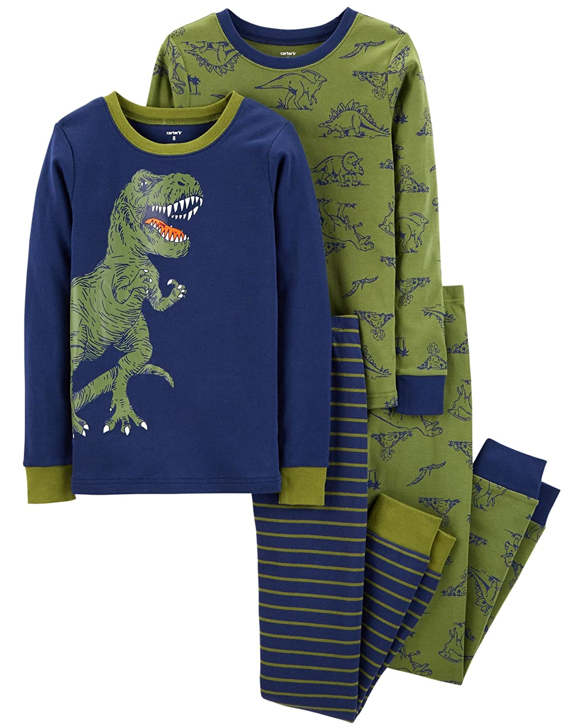 Carters Toddler Boys 4 Pc Pajama PJs Sleep Play Sleep Snug fit Cotton Dino Dinosaur T-rex 12