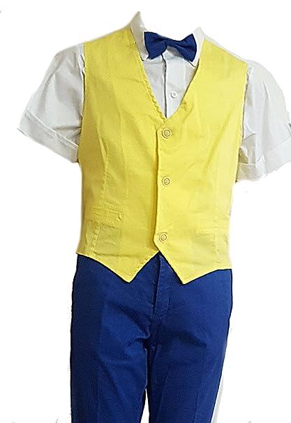 801c4c49887326 Completo sportivo elegante bambino ragazzo cerimonia estivo giallo tg 40