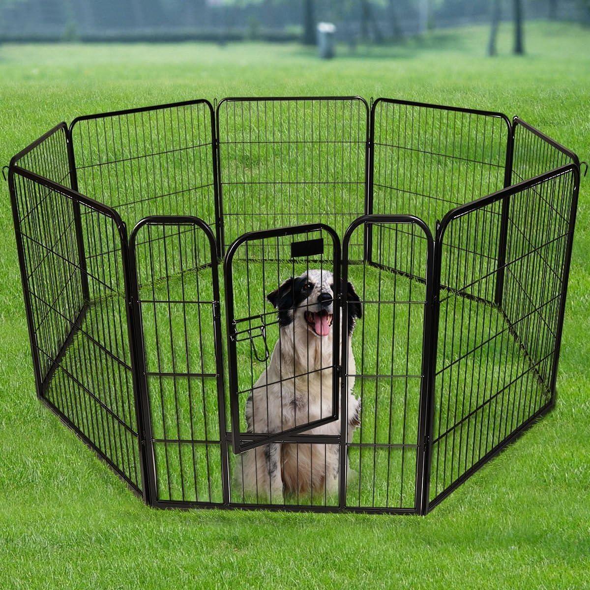 Metal Dog Playpen Indoor Outdoor Fence 20 Inch Black 20 Panels ...