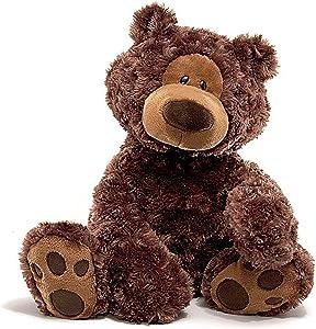 "GUND Philbin Teddy Bear Stuffed Animal Plush, Chocolate Brown, 18"""