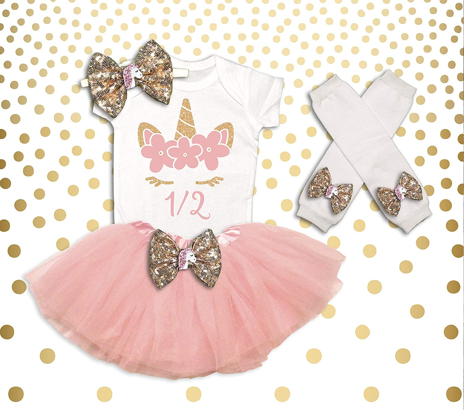 1447410c7f75 Amazon.com  Unicorn 1 2 Birthday Outfit Girl Unicorn Birthday Shirt Unicorn Birthday  Outfit Unicorn Half Birthday Tutu 1 2 Birthday Girl Outfit  Handmade