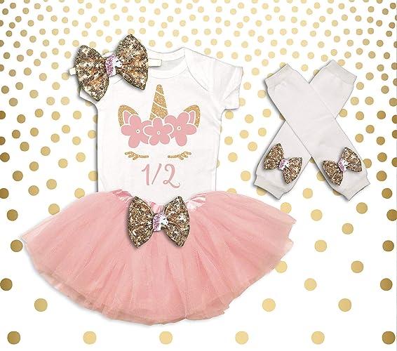 Unicorn 1 2 Birthday Outfit Girl Shirt Half