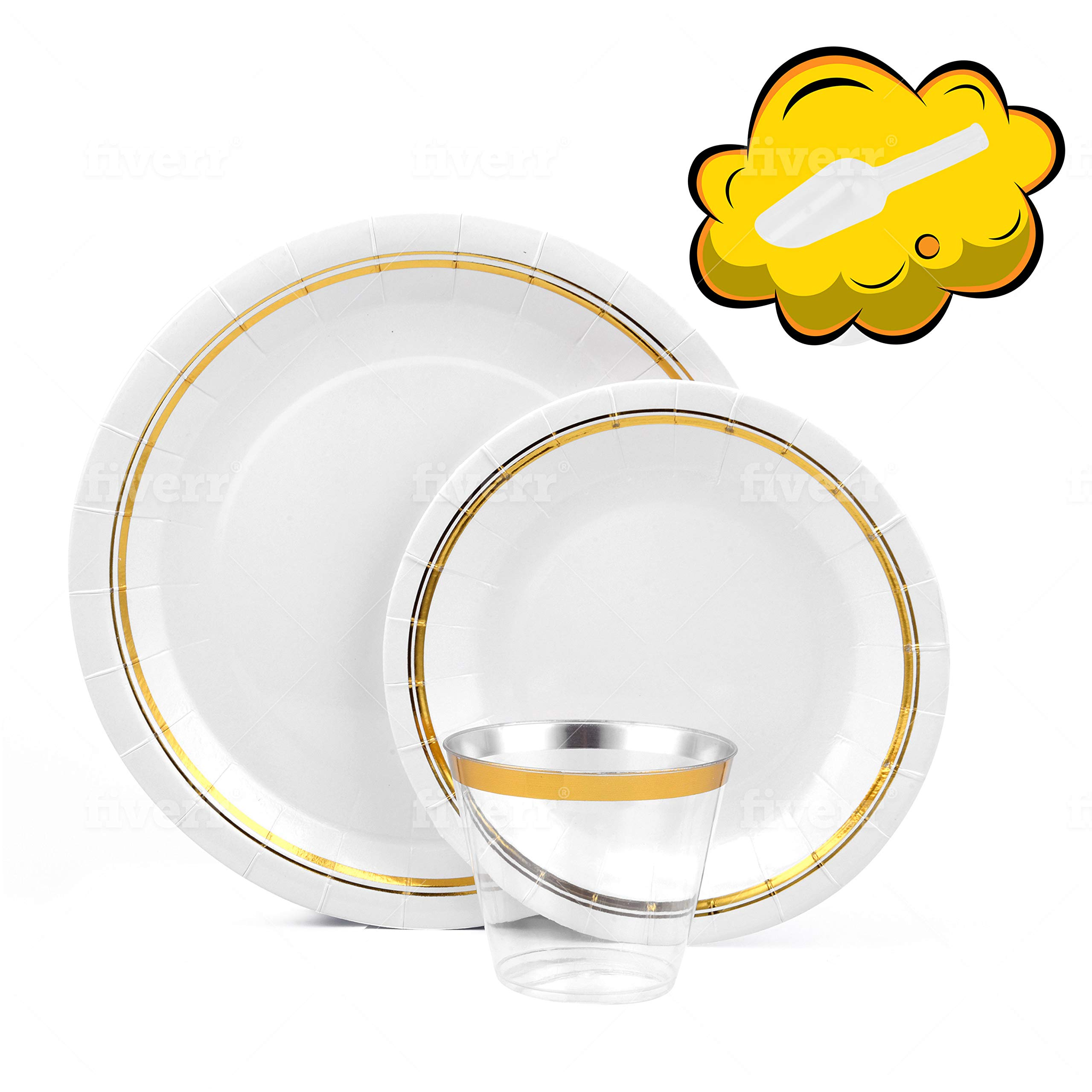 Gold Paper Plates for 50 Guest