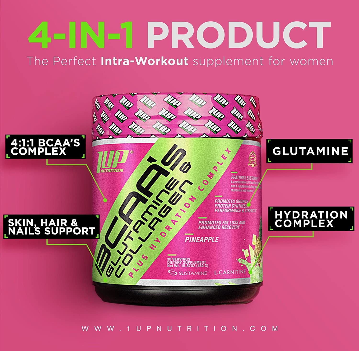 Amazon.com: 1UP Nutrition - Her BCAA's Glutamine & Collagen, Plus Hydration Complex, (Pineapple): Health & Personal Care