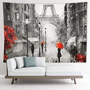 Tapestry Paris, Red Umbrella, Black and White Tapestry, Eiffel Tower Decor. Paris Themed Room Bedroom Decor, Paris Room Decor for Teen Girls, Living Room, Student Dorm 27.1W x 36.2L Small
