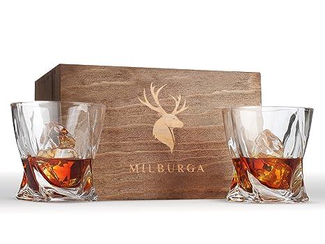 amazon com twist whiskey glasses set of 2 by milburga lead free