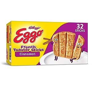 Kellogg's Eggo Cinnamon French Toaster Sticks - Frozen Breakfast Food Made Easy, 12.7 oz Box (32 Frozen Sticks)