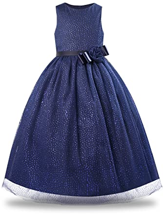 Bonny Billy Girls Elegant Sequins Tulle Evening Cockatil Princess Sleeveless Party Long Dress with Bows 4