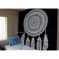 Tapiz Raajsee de algodón indio con diseño de mandala color negra y blanca para colgar en la pared, 220 x 230 cm, algodón…