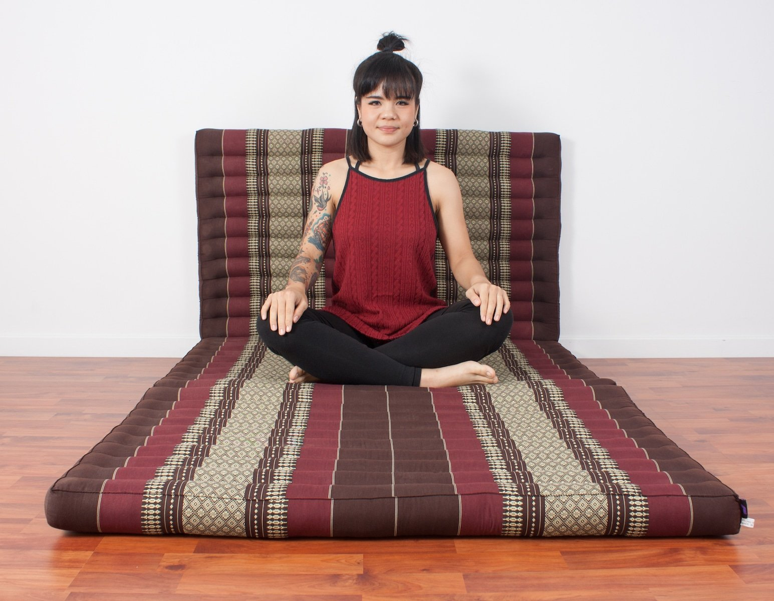 Leewadee Thai Massage Mat XL, 82x46x3 inches, Kapok, brown red by Leewadee (Image #2)