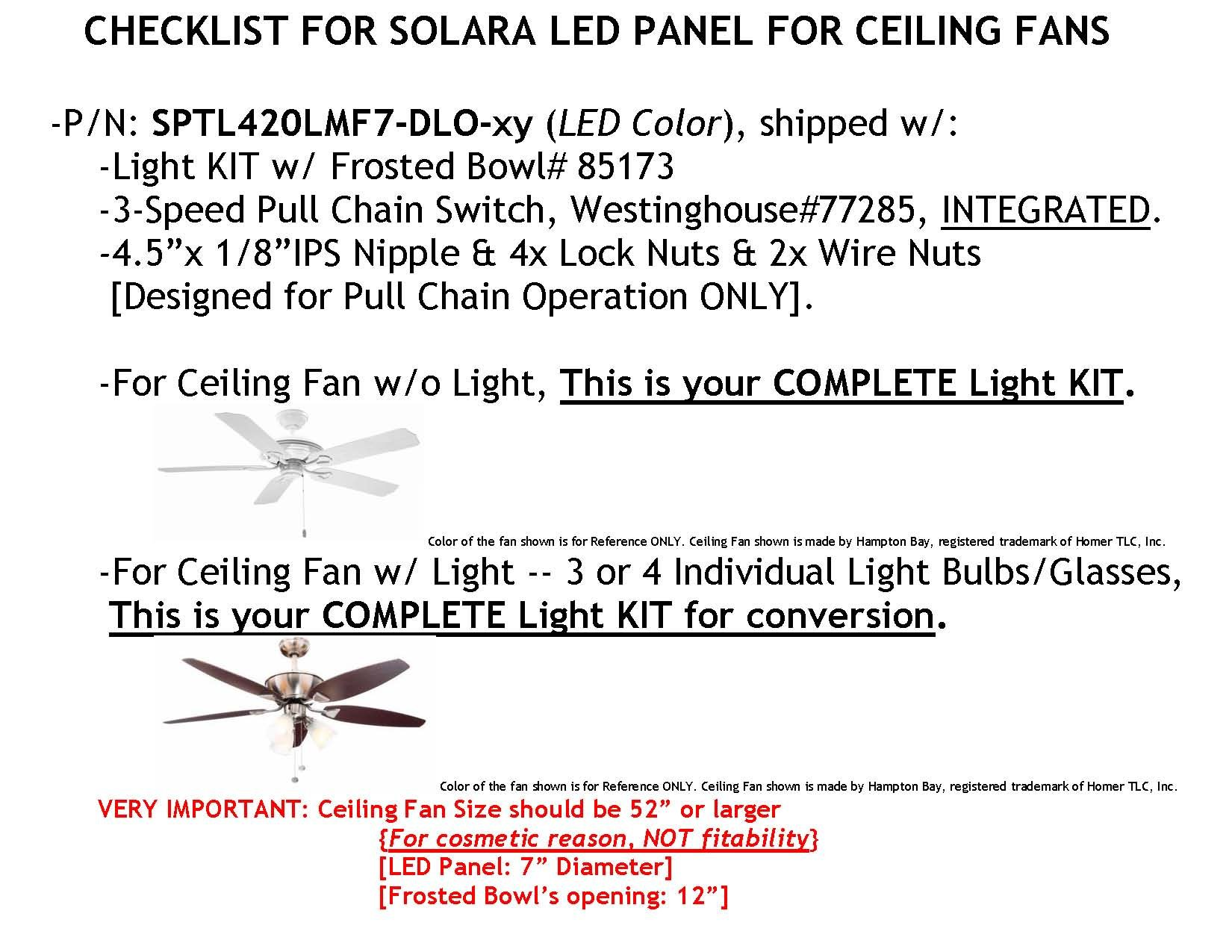 Frosted Glass Bowl w/ LED Panel KIT w/ DUAL LIGHT OUTPUT -- 7'' Diameter -- SOFT WHITE (3000K), 4000lumens 17Watts. For ANTIQUE BRASS Ceiling Fan, P/N: SPTL420LMF7-DLO-SW+KIT#85173-ABR by SOLARA-USA (Image #6)