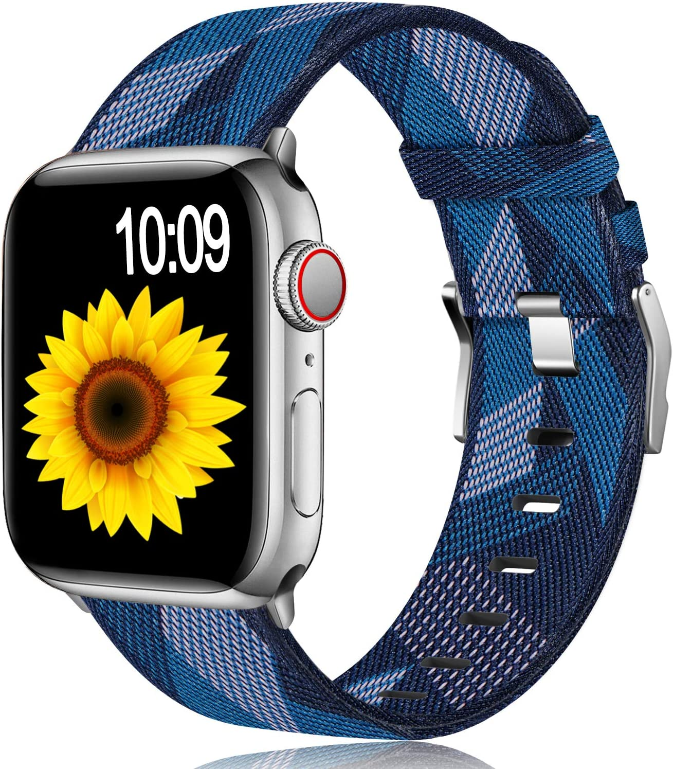 Muranne Fabric Bands Compatible for Apple Watch 38mm 40mm iWatch SE & Series 6 & Series 5 4 3 2 1, Dressy Adjustable Breathable Woven Canvas Watchbands Accessories for Women Men, Diamond Pattern Blue