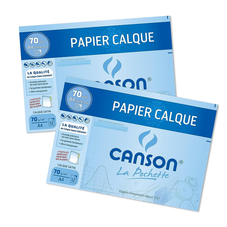 Canson 400110117–Set di 2buste di carta carta da ricalco 12foglio 70g A4