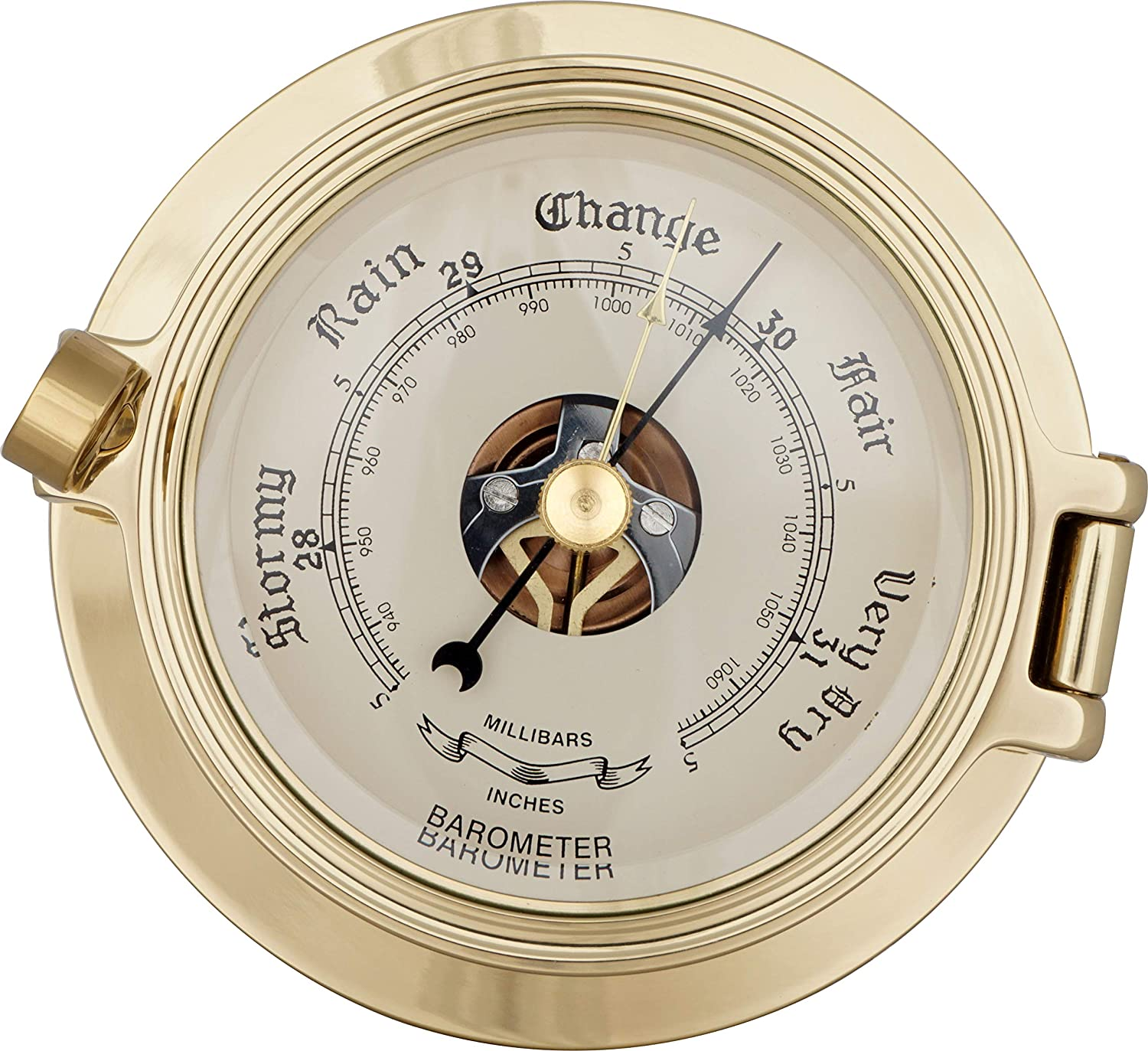 Justime 3.5 Inch Brass Latch Porthole Barometer, Nautical Wall Hanging Décor SBM-35-2-51B